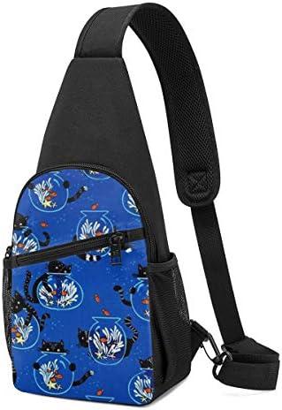 猫とアクアリウム 斜め掛け ボディ肩掛け ショルダーバッグ ワンショルダーバッグ メンズ 多機能レジャーバックパック 軽量 大容量
