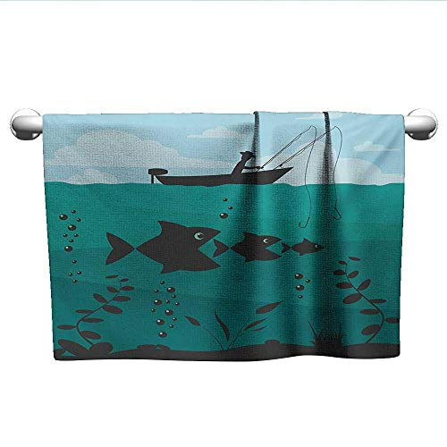 Fishing,Fade-Resistant Towel Single Man in Boat Luring with Bobbins Nautical Marine Sea Nature Funky Image Print Dry Fast Towel Blue Teal W 35