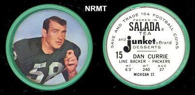 Salada Baseball Coins (1962 salada tea coins (Football) Card# 15 dan currie of the Green Bay Packers VG)