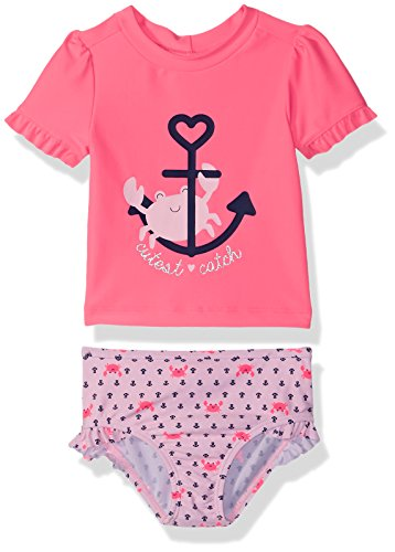 Simple Joys by Carter's Baby Girls' Toddler 2-Piece Rashguard Set, Pink/Navy Stripe, (2 Piece Toddler Swimsuit)