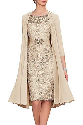 APXPF Women's Tea Length Mother of The Bride Dresses Two Pieces with Jacket Champagne US10
