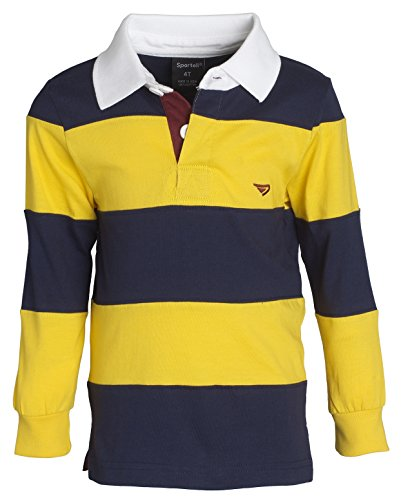 Striped Jersey Polo - Sportoli Big Boys 100% Cotton Wide Striped Long Sleeve Polo Rugby Shirt - Gold (Size 8)