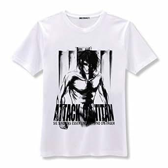 New Attack on Titan Shingeki no Kyojin White T-Shirt Size L