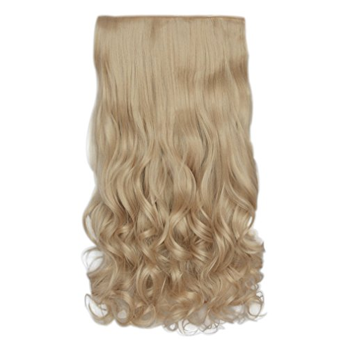 "REECHO 20"" 1-pack 3/4 Full Head Curly Wave Clips in on Synthetic Hair Extensions Hair pieces for Women 5 Clips 4.6 Oz Per Piece - Natural Blonde"