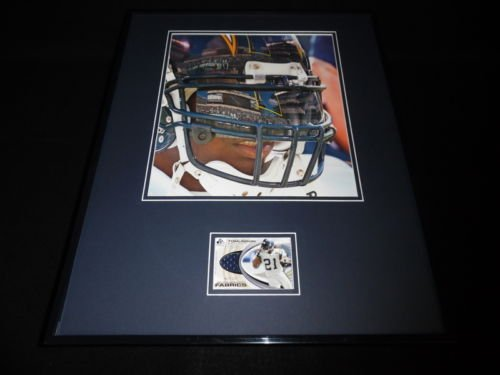 (Ladainian Tomlinson 16x20 Framed Game Used Jersey & Photo Display Chargers)