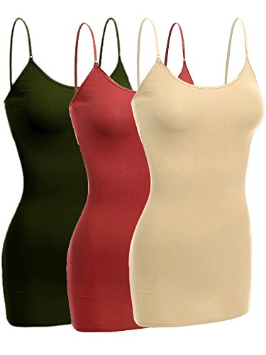 Emmalise Women Camisole Built in Bra Wireless Fabric Support Long Layering Cami, Small, 3Pk Khaki Rust Olive (Rust Olive)