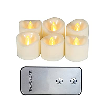 Realistic Flickering Flameless Candle LED Battery Operated Votives Candles with Remote and Timer Long Battery Life Battery Included