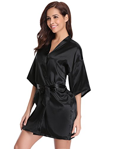 Women's Kimono Robes Satin Pure Colour Short Style with Oblique V-Neck Robe Black