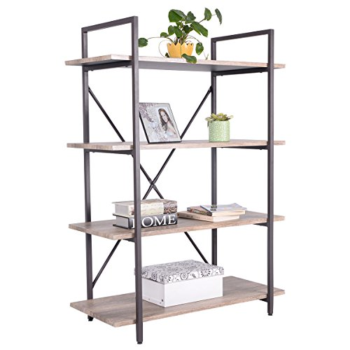 New 4 Tiers Bookcase Metal and Wood Storage Shelf Display Organizer Home Furniture