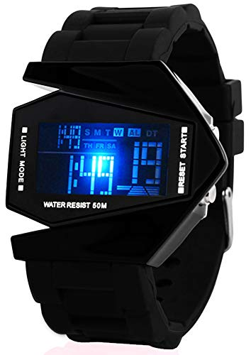 Fanmis Unisex Elegant Plane Style Digital Display Waterproof Outdoor Sports Black Silicone LED Wrist Watch