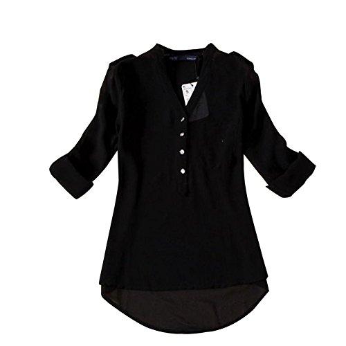 Blackobe Women Casual Shirt Spring V-Neck Chiffon Long Sleeve Shirt Blouse (XL, Black)