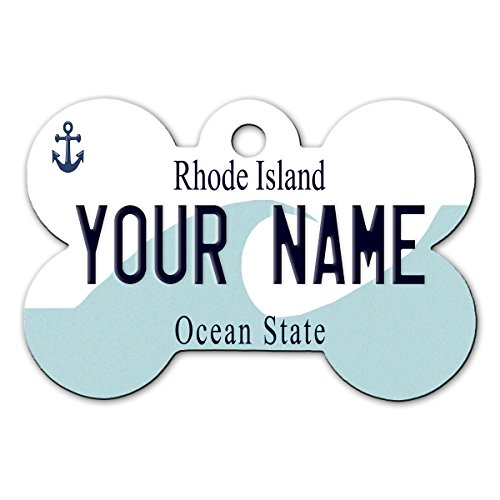 (BleuReign(TM Personalized Custom Name Rhode Island State License Plate Bone Shaped Metal Pet ID Tag with Contact Information )