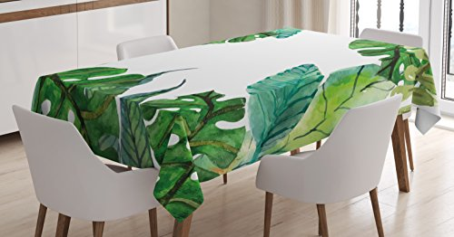 - Ambesonne Leaf Tablecloth, Watercolor Print Garden Botanical Herbal Forest Leaves Image, Dining Room Kitchen Rectangular Table Cover, 52 W X 70 L inches, Turquoise Dark Green and Apple Green
