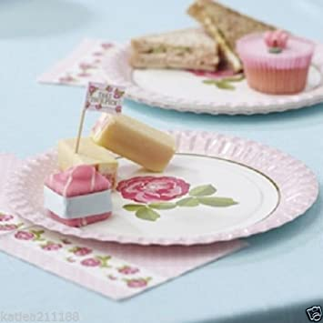 New wedding vintage rose shabby chic afternoon tea party 8 paper plates & Amazon.com: New wedding vintage rose shabby chic afternoon tea party ...
