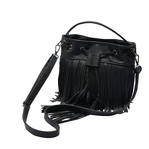 with HeySun Leather Bucket Tassels Women's Bag Drawstring Crossbody Black rWTqwYrt