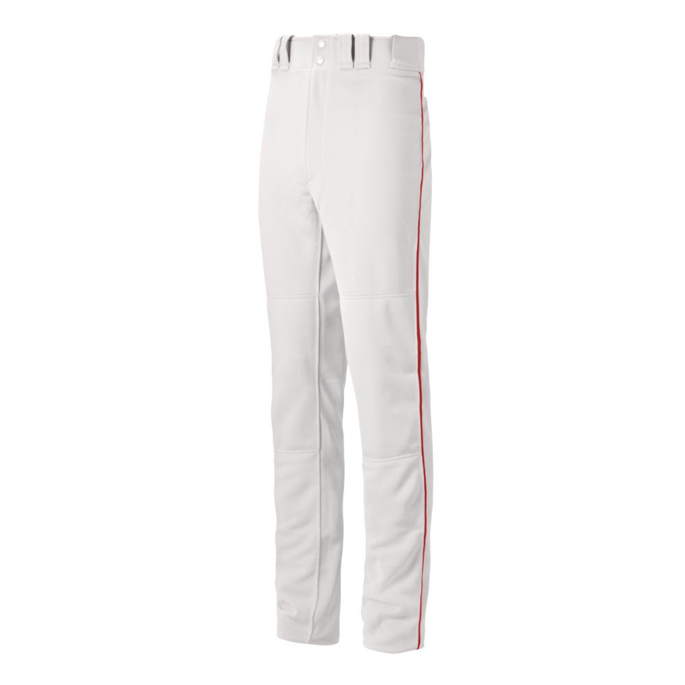 Mizuno Youth Premier Pro Piped G2 Baseball Pant, White-Red, Youth X-Large by Mizuno