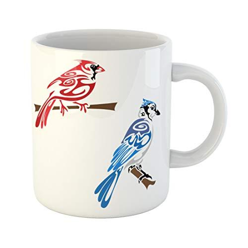 Semtomn Funny Coffee Mug Blue Cardinal Tribal Birds Animal Jay Original Tattoo Wildlife 11 Oz Ceramic Coffee Mugs Tea Cup Best Gift Or Souvenir ()