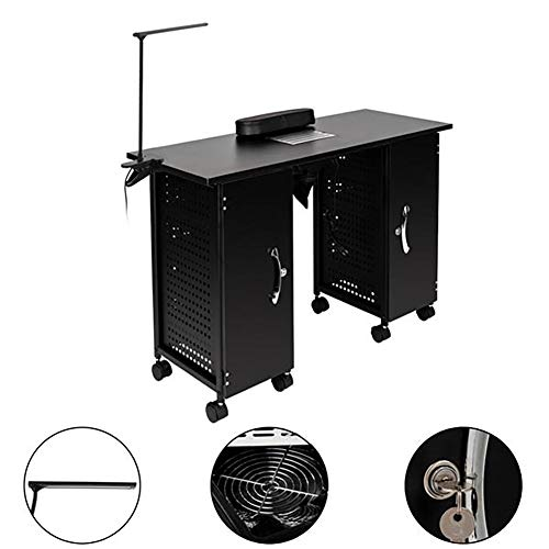 Moonwind Portable Manicure Nail Table Iron Steel Frame Manicure Table Beauty Spa Salon Station Manicure Station with LED Lights and Handrails Salon Spa Nail Equipment (Black)