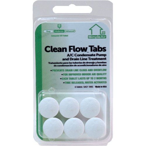 (SimpleAir Clean Flow HVAC Drain Line Treatment Tabs, 6 pk)