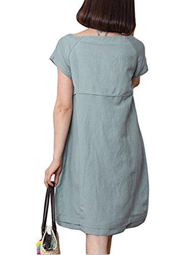 Femmes Poche Lâche Linge De Couleur Unie Robe En Coton Vert