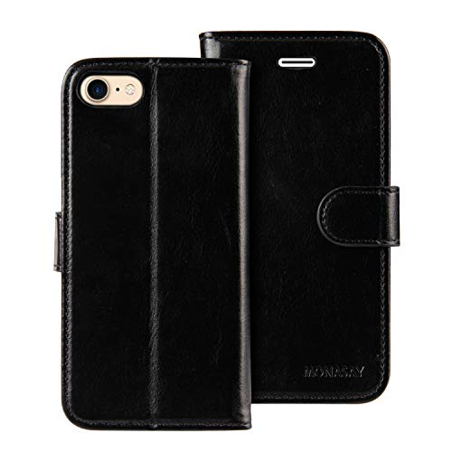 iPhone 7 Wallet Case/iPhone 8 Wallet Case/iPhone SE 2020 Case,4.7-inch,MONASAY [Glass Screen Protector Included] Flip…