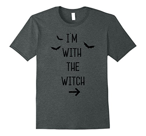 Mens Funny Halloween Couples Costume T-Shirt I'm With The Witch 3XL Dark Heather