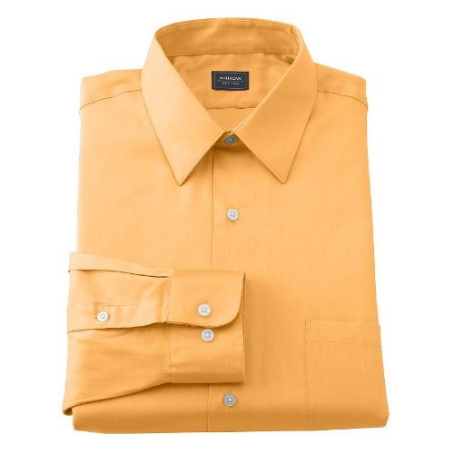 Arrow Point Collar Dress Shirt - Arrow Mens Classic Fit Point-Collar Sateen Dress Shirt No Iron Light Nectar Orange (18 1/2 Neck 34/35 Sleeves)