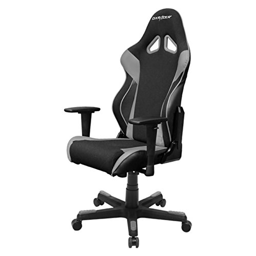 DXRacer Racing Series DOH/RW106/NG Racing Bucket Seat Office Chair Gaming Chair Automotive Racing Seat Computer Chair Esports Chair Executive Chair Furniture with Free Cushions (Black/Grey)