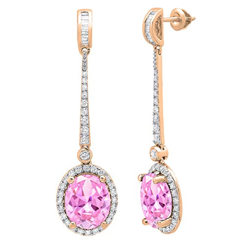 (Dazzlingrock Collection 10K Each 11X9 MM Oval Lab Created Pink Sapphire And Round & Baguette Diamond Ladies Dangling Earrings, Rose Gold)