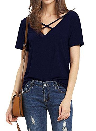 Dutebare Women Criss Cross Shirt Deep V Neck Short Sleeve Tops Casual Tee Blouse Navy Blue (Deep V-neck Cross)