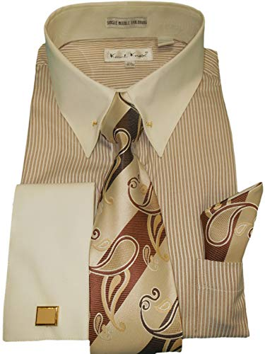(Karl Knox SX4415 Mens Brown Stripe Solid Cream Cuff/Collar Eyelet Pin Dress Shirt + Tie (2XL 18.5 Collar 36/37 Sleeve) )