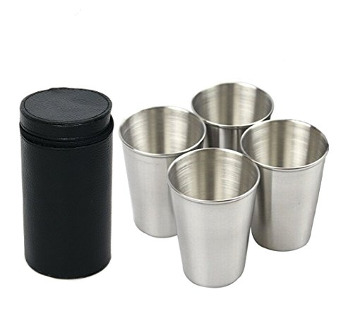 YYGIFT Set of 4 Stainless Steel Coffee Cups Portable Trav...