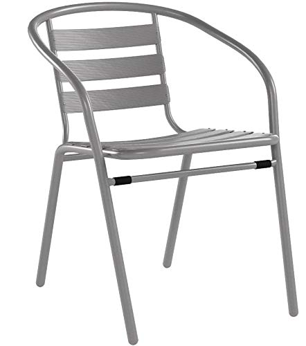 Flash Furniture 4 Pk. Silver Metal Restaurant Stack Chair with Aluminum Slats by Flash Furniture (Image #7)