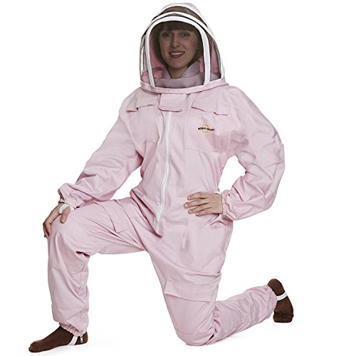 NATURAL APIARY BEEKEEPING SUIT - PINK - EXTRA SMALL - Complete, Full (All-in-One) - Fencing Veil - Easy to Wear & Remove - Bee Proof Seals - Professional & Beginner Beekeepers