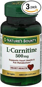 Nature's Bounty L-Carnitine 500 mg Caplets - 30 ct, Pack of 3 by Nature's Bounty (Image #1)