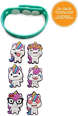 ユニコーン パーティー記念品 ブレスレットバンド - 24個パック 交換可能なユニコーンの顔 感情 おもちゃの賞品デコレーション 女の子用