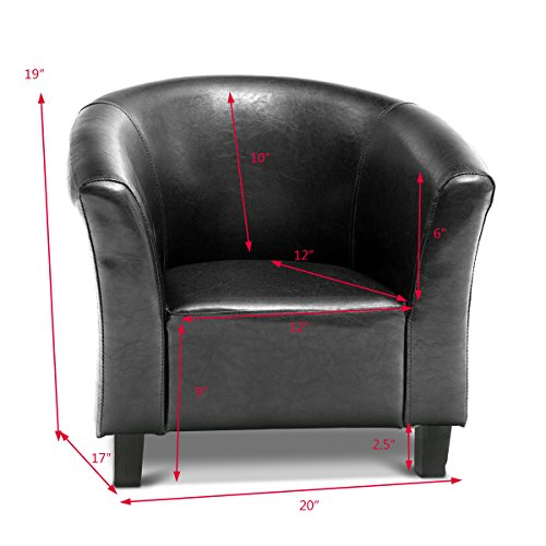 Costzon Kids Sofa Tub Chair Couch Children Living Room Toddler Furniture (PU Leather, Black) by Costzon (Image #5)'