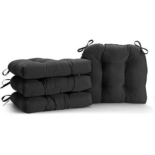 Home Direct Black Set of 4 Dining Chair Cushions Soft Plush Tufted with Ties 14.5 x 16