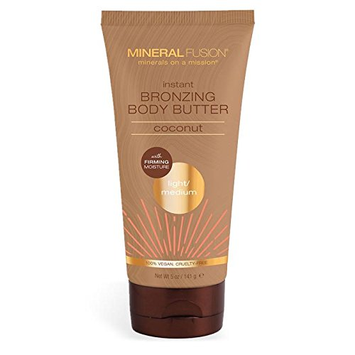 MINERAL FUSION instant bronzing body butter light medium coconut, 5 oz, 5 Ounce