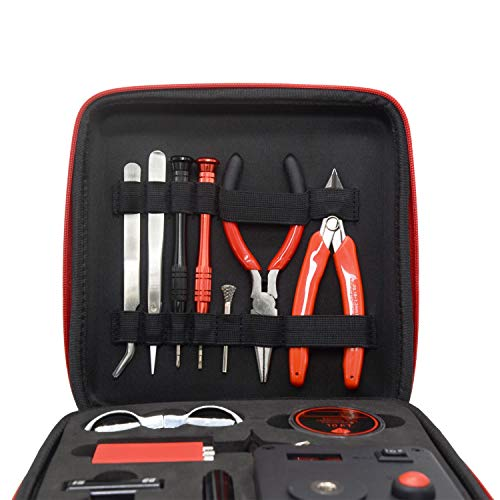 Coil Building Tool Kit | Household DIY Kit | Repair Tool Set 16 Pieces with Coiling Jig Set(V4)/521 Mini Tab/Ceramic Tweezers/Wire Cutter/Cleaning Brush