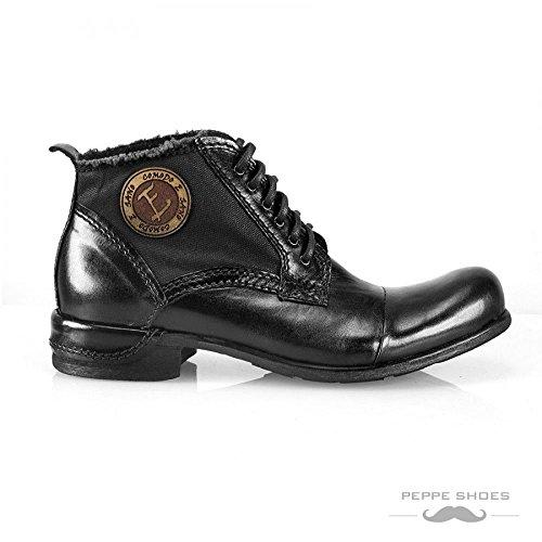per uomo Peppeshoes mano Modello stivali dipinta neri stivaletti vacchetta in in a italiana pelle Vieste wnYXRrqY