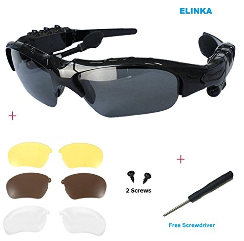 Elinka Wireless Music Bluetooth Sunglasses Headset Headphone for iPhone 5S 6 Plus, Samsung Galaxy S3 S4 S5 Note2 Note3, HTC, LG and All Smart Phones or PC Tablets+Free Replaceable 3 pair lens