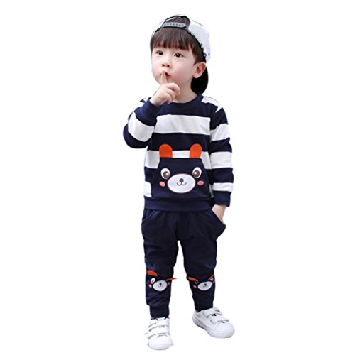 2017 FEITONG Autumn Winter Baby Girl Boy Striped Bear Tops+Pants Outfits (2Years, Navy) ()
