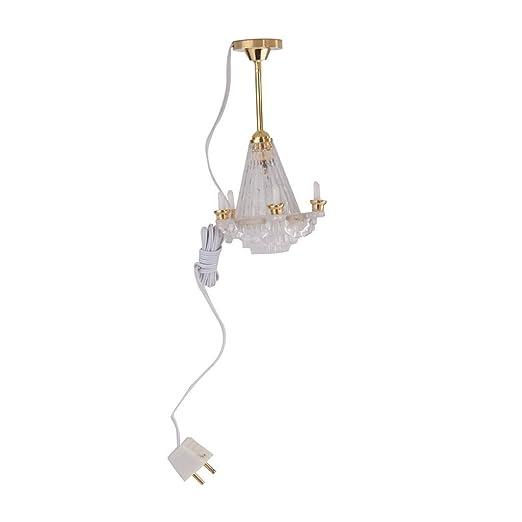 Lámpara de techo LED de Miniatura de casa de muñecas Iluminación Lámpara Eléctrica W//5 Vela