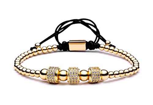 Paris Martin Women's Prestigious Double Strand Handmade Bracelet Set with Goldtone Beads Encrusted with CZ ()