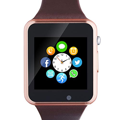 Bluetooth Smartwatch,Smart Watch Unlocked Watch Phone can Call and Text with Touchscreen Camera Notification Sync for Android iOS(Gold)