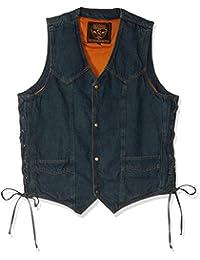 Biker's Edge Men's Side Lace Basic Denim Vest (Blue, X-Large)