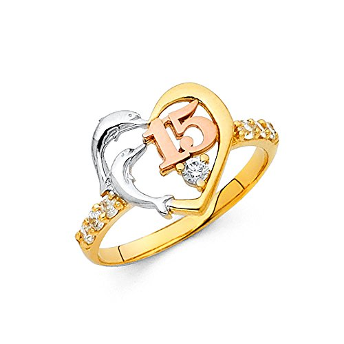 Dolphins Two Gold (Girls 14K Solid Tri-color Gold Two Dolphin Heart Cubic Zirconia 15 Anos Ring, Size 8)