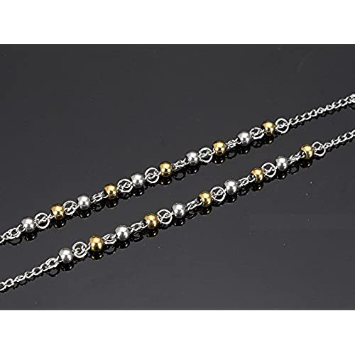fea3e1e6bd3e vonchic oro plata tono acero inoxidable Bead cadena cristiana católica  rosario Cruz oro plata 4 mm
