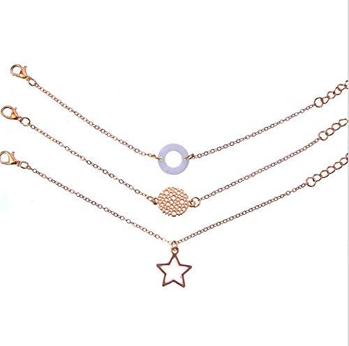 Pentagram Pendant Round Stone Bracelet